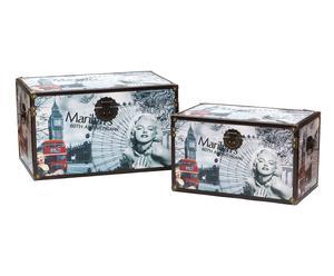 Set de 2 baúles en madera y papel Marilyn