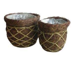 Set de 2 macetas hechas con ramas - marrón