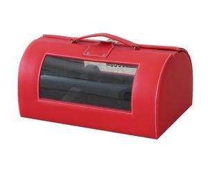 Baúl portabotellas en polipiel y plexiglás - rojo