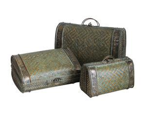 Set de 3 maletas en madera y ratán Melodía - marrón