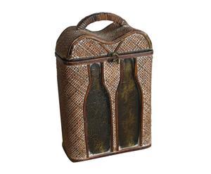 Botellero con asa en madera y ratán Morandi