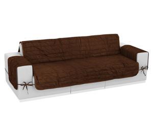 Funda de sofá de microfibra y poliéster reversible, 3 plazas – marrón y avellana