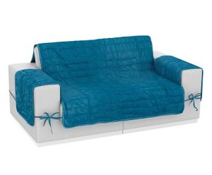 Funda de sofá de microfibra y poliéster reversible, 2 plazas – azul y gris oscuro