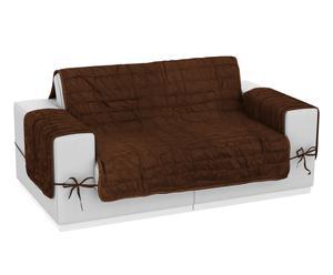 Funda de sofá de microfibra y poliéster reversible, 2 plazas marrón y avellana