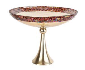 Centro de mesa en vidrio y metal en forma de copa