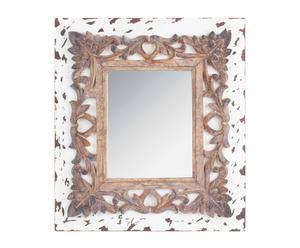 Espejo de pared en polirresina – marrón y blanco