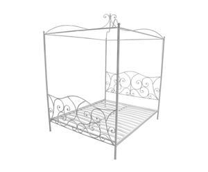 Estructura de cama con dosel en metal, blanco - 167x240x209 cm