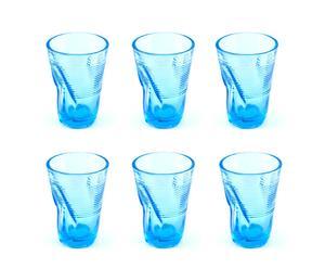 Set de 6 vasos de cristal, turquesa - grande