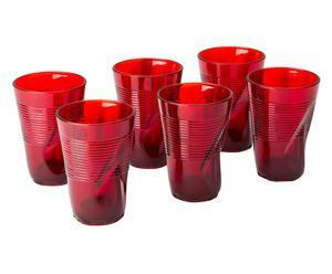 Set de 6 vasos altos de vidrio - rojo