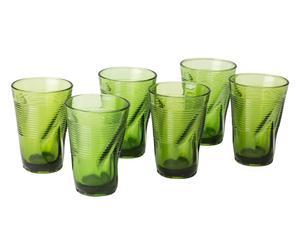 Set de 6 vasos altos de vidrio - verde