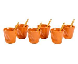 Set de 6 vasos de café con palito en gres - naranja