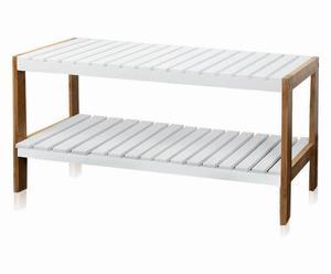 Estantería baja de bambú, 2 estantes – blanca y natural