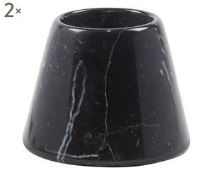 Set de 2 candeleros en mármol de carrara – negro II