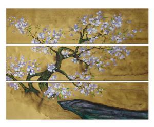Composición De 3 cuadros pintados a mano sobre tela Primavera japonesa