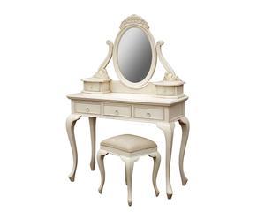 Tocador con espejo y taburete a juego Zoe – blanco decapado