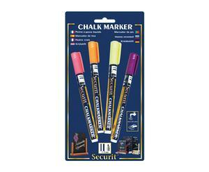 Set de 4 rotuladores de tiza líquida en punta fina – amarillo, naranja, rosa y violeta