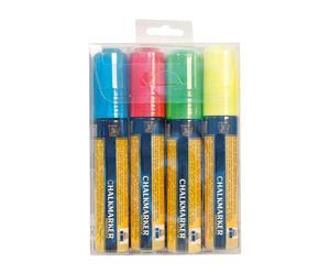 Set de 4 rotuladores de tiza líquida en punta gruesa – azul, rojo, verde y amarillo