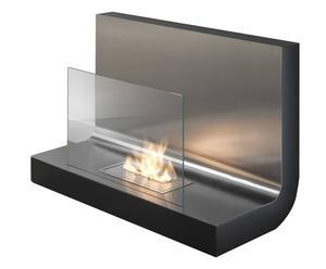 Chimenea de pared en metal y vidrio L – negra y acero