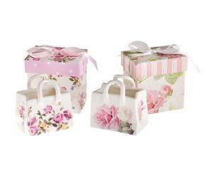 Set de 2 bolsos decorativos en porcelana Flor
