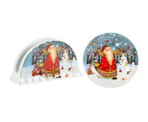 Set de servilletero y plato de porcelana Natale