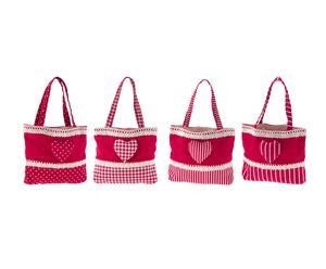 Set de 4 bolsas de algodón para colgar Cuore - 25x16cm