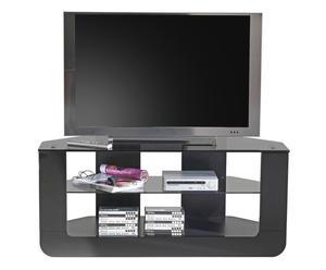 Mueble para televisión de melamina con ruedas  - negro