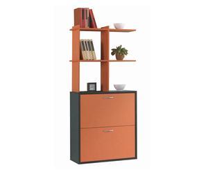 Zapatero de pared con estante en melamina – roble oscuro y naranja