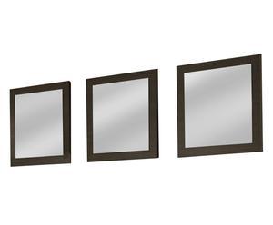 Conjunto de 3 espejos enmarcados en melamina - marrón