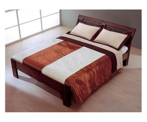 Colcha de raso y algodón, beige y marrón - 260x240