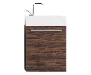 Mueble de lavabo con 1 compartimento en DM y Mineralmarmo®- nogal