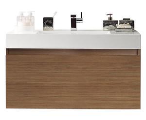 Mueble de baño flotante con cajón y lavabo Teak – 100x55x48cm