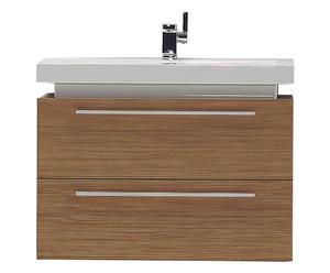 Mueble de baño flotante con 2 cajones y lavabo Liz, natural
