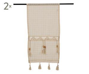 Set de 2 cortinas de algodón Miriam, crudo – 40x70