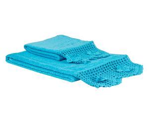 Set de 1 toalla de aseo y 1 de lavabo en algodón 100% Cristel – turquesa
