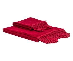 Set de 1 toalla de aseo y 1 de lavabo en algodón 100% Cristel – burdeos