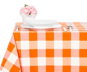 Mantel en algodón 100% Check, naranja – 140x180