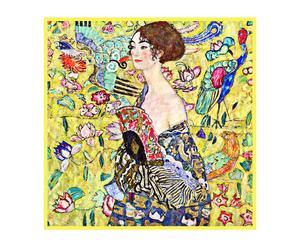Lienzo Klimt, Mujer con abanico - 80x80 cm