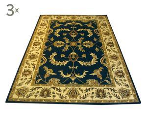 Set de 3 alfombras Ziegler, azul marino – 60x120 y 80x150
