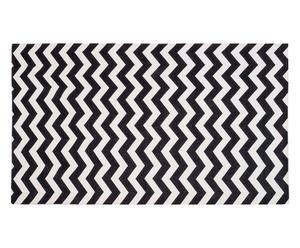 Alfombra de chenilla ZigZag, negro - 80x130