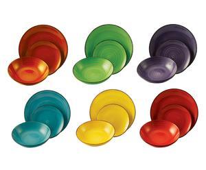 Vajilla de gres Baita, multicolor – 18 piezas