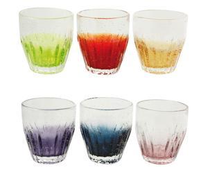 Set de 6 vasos de agua en vidrio soplado Taberna – multicolor