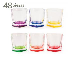 Set de 48 vasos de agua de vidrio Cube – multicolor