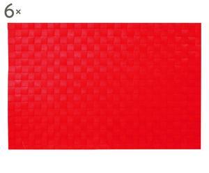 Set de 6 manteles individuales, rojo – 45x30
