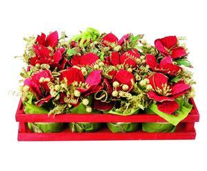 Set de 12 flores de Pascua, rojo - 10x12 cm