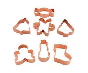 Set de 7 cortadores de galletas en cobre Navidad - 10x2 cm