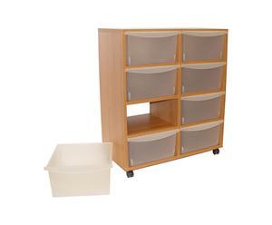 Mueble de almacenamiento con ruedas y 8 cajones