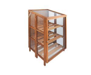 Invernadero de vidrio y madera con 2 estantes