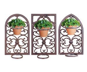 Set de 3 soportes porta macetas de hierro Oliver