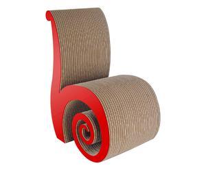 Silla hecha a mano en cartón Caracol – rojo