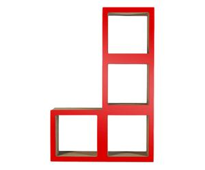 Estantería modular de cartón en forma de L – rojo